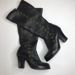 crown vintage leather steam punk knee high boots